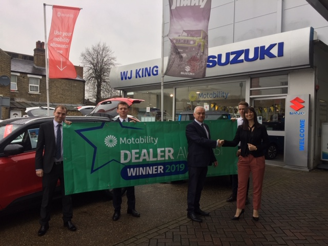 W J King Suzuki Welling has won the Quarter 3 Dealer Motability Award 2019