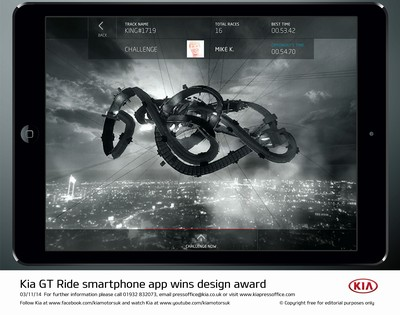 Kia GT RIDE smartphone app wins design award