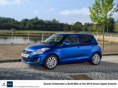 Suzuki celebrates a Swift bite at the Green Apple Awards